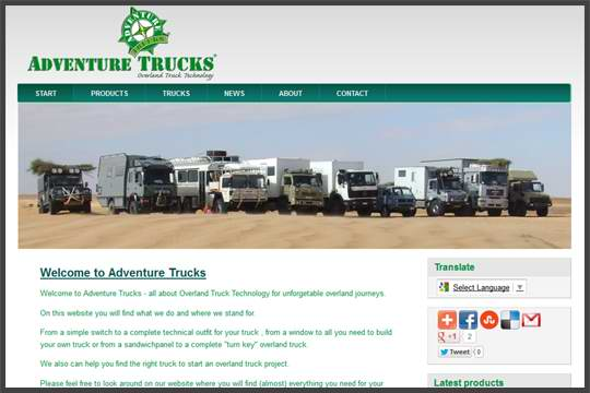 Adventure Trucks website - Overland Truck Technology at HUBBUK